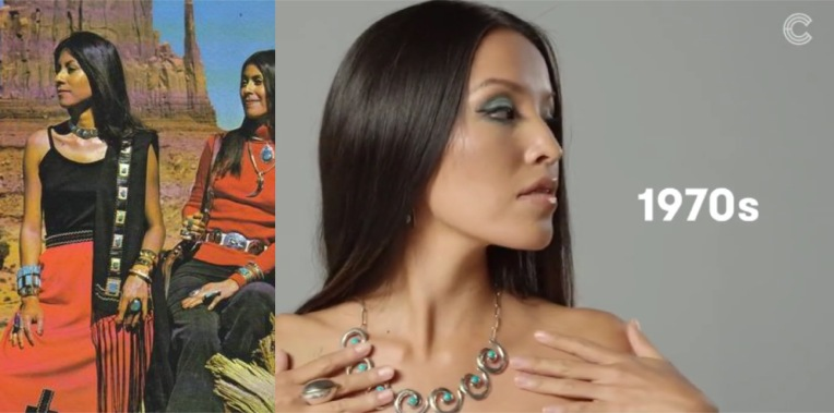 A major trend in Native American jewelry hit this decade. By then, a growing number of tourists would appreciate the current-day styles by attending major Native art galleries or art shows throughout the country. Meanwhile, a dwindling number of trading posts on the reservation would be open by the end of the decade. Education-wise, on-reservation schools would improve with greater presence of Navajo educator and administrators. A growing number of Navajo professional educators would slowly take their place at BIA and on-reservations/ border town public schools. CREDIT - L, Photo: AZ Highways April 1979.